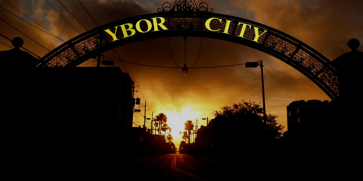 Picture of the Ybor City archway at sunset, in Tampa, Florida